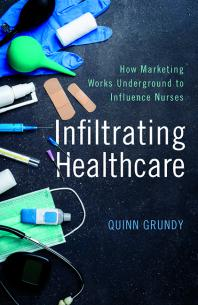 Book cover - white and blue title on background image of medical supplies in a pile