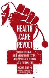 Book cover - red fist over red cross symbol holding stethoscope, title in white